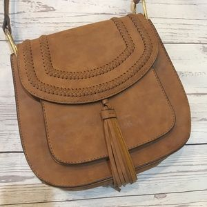 FRANCO SARTO Tan Faux Leather Fringe Crossbody Bag